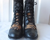 sz 8m vintage black leather lace up combat granny boots with removeable animal print fringe