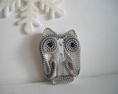 White Owl Ornament  Zipper Art  White Vintage handmade