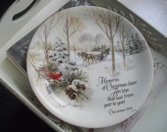 Vintage Commorative Plate Christmas Sleigh Ride Collectors Plate Vintage Made In Japan Free Shipping