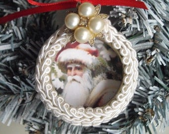 Victorian Santa Christmas Tree Ornament Handmade Upcycled and Repurposed One of a Kind Handmade