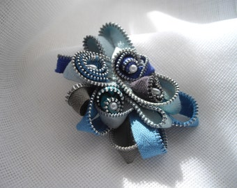 One Of A Kind Zipper Brooch Hand Sewn Blu Grey Zipper Brooch Corsage Wearable Art abstract Design To Pin Anywhere You Can Imagine handmade