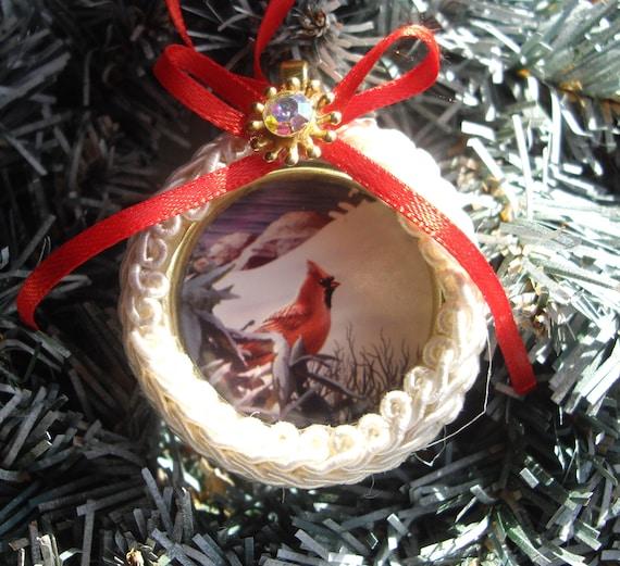 Cardinal Red Christmas Ornament Recycled, Repurposed Handmade