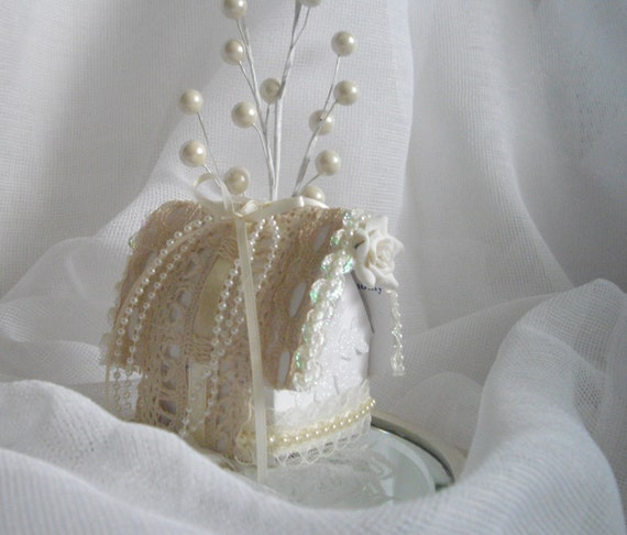 Christmas House Winter White and Cream Handmade Holiday Ornament Victorian Inspired Recycled Paper Scraps