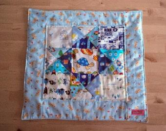 Kawaii mini quilt---The cute blue one - Wall hanging - Nursery Decor