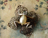 SALE-Upcycled Antique Frog Pin