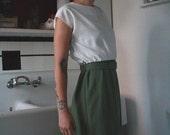 olive green/off white secretary dress with belt SUMMER SALE