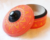Round Vintage Yellow, Black and Coral Wooden Carved Box