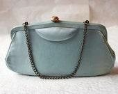 Vintage Robin's Egg Blue and Gold Evening Bag