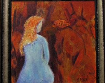 Original Art Acrylic Painting in Mixed Media - Angel in Prayer