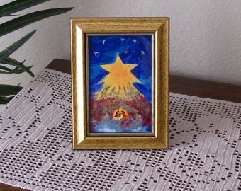 Christmas Decoration -  Tabletop Framed Nativity Reproduction