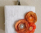 Canvas and flower decor - orange flowers