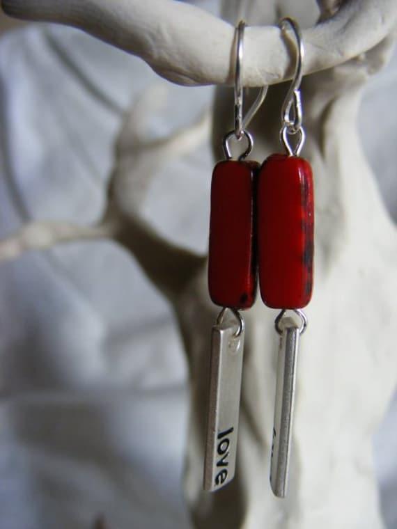 Red love rectangle dangle earrings