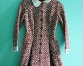 1 DAY SALE 1960s Bohemian Button Down Long Sleeve Dress
