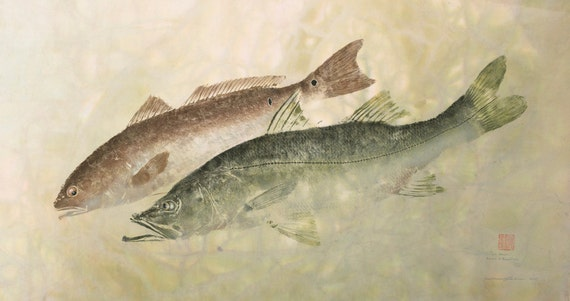 Two Down- Limited Edition Reproduction of gyotaku of Snook and Redfish