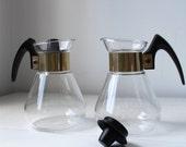 vintage twin corning pyrex carafes