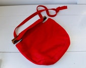 RESERVED  vintage wool and wood purse. 1960s shoulder bag / the mod folk CHERRY JAM purse