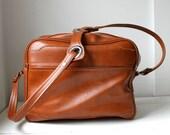 25% off barn sale vintage 1970s BARBECUE carryon bag. Vegan vinyl shoulder bag in wet look chestnut.