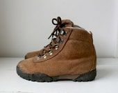 RESERVED  ..... for Jasminarlene ..... vintage SMORES hiking boots in camel brown suede. women size 6, by Eddie Bauer