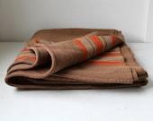 vintage wool blanket, coffee brown. rustic primitive / the MORNING COFFEE blanket