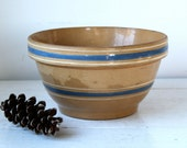 """vintage 1930s Watt Ware pottery bowl. 9"""" blue and white banded mixing bowl. Rustic primitive collectible  / the BISCUIT MAKER bowl"""