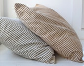 vintage 1930s farmhouse feather pillow with brown striped ticking. Primitive rustic.