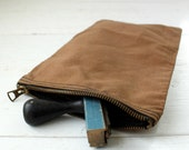 vintage 1940s canvas utility pouch. Brown duck with brass zipper  / rustic industrial  / the GRILL COOK bag.