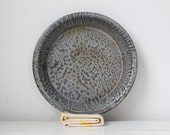 vintage 1920s graniteware pie plate. mottled gray / primitive rustic / the SWEET POTATO PIE pan
