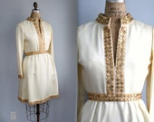 vintage 1960s mod cocktail dress. size 6 - 8. Vanilla silk, gold metal and rhinestone trim / the CREME BRULEE frock