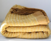 vintage 1960s gold blanket. twin size. Penney's Fashion Manor / retro cabin / the HONEY MUSTARD blanket