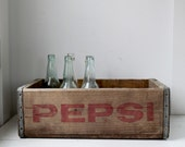 vintage 1960s pepsi crate / rustic industrial home decor / repurpose storage, organization / Mom's SODA POP shelf 3