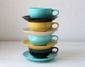 vintage 1950s melmac cups and saucers. Set of 4 Prolon Florence. Aqua, black, gold, tan. retro mod melamine  / COFFEE WITH GEORGE set