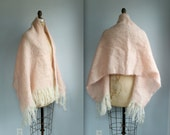 Cyber Monday SALE vintage 1970s mohair shawl  / huge,  fuzzy, fringed pink wool stole / new old stock / the STRAWBERRY MILKSHAKE wrap