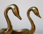 vintage 1960s pair of brass swan dishes