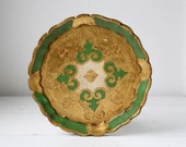 vintage 1950s tole tray. Italian Florentine serving tray. Handpainted gold and green  / the CAPONATA for 3 tray