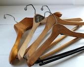 wooden suit hangers. Set of 4 / vintage farmhouse