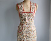 vintage 1940s bib apron / red trim, mustard, scarlet and olive floral vines on white / the FRICASEE apron