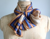 vintage 1980s striped silk scarf. Oblong blue, red, gold. Signed Albert Nipon / the LADYFINGERS scarf