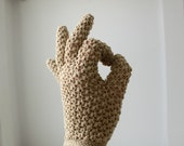 vintage 1960s crochet gloves. tan with pearly button closure. Size 7.5 medium / large / the COFFEE ICE CREAM gloves