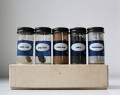 vintage 1970s science sample set. Box of 5 vials. Iron, limestone, coke, steel. Geekery.
