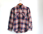 Vintage 1980s flannel shirt. Boy 12 / Wom xs / s.  Red white and blue. VIP. Rustic woodland / the BOMBE POP shirt