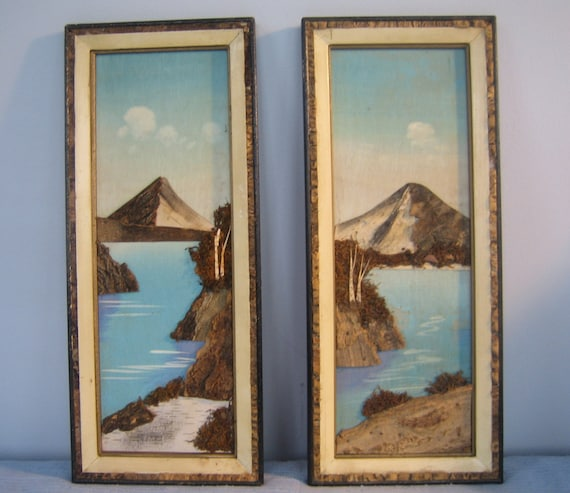 1950s 3-D moss and bark paintings from Japan. Pair of 2. SALE