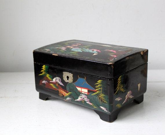 Vintage 1950s Musical Jewelry Box Handpainted On Black