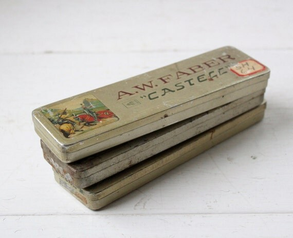 vintage 1940s pencil box. Metal by Faber-Castell. Art Deco industrial /  the CAMOMILE stash box
