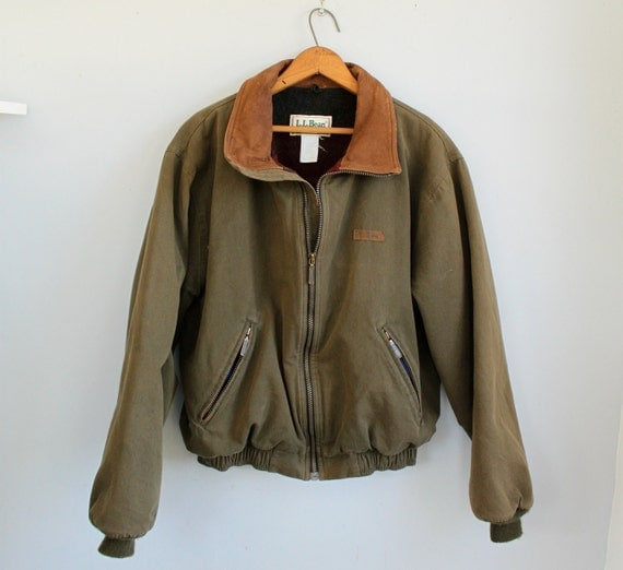 vintage 1980s LL Bean aviator jacket. Olive green bomber. Suede collar. Men's Medium / the JOHNNY CAKE coat