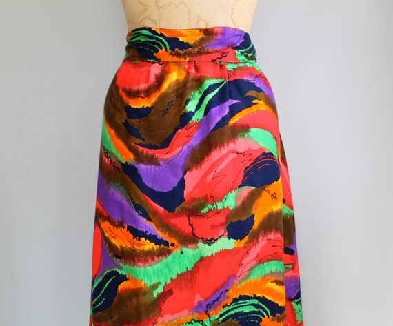 vintage 1970s maxi skirt / large / abstract in red green and purple / the SANGRIA COCKTAIL skirt