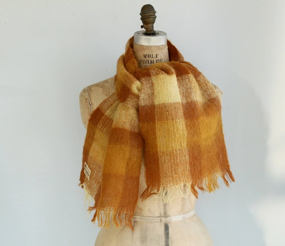 vintage 1950s mohair scarf / fuzzy tan, yellow and brown plaid by Baar & Beards / the TOASTED ENGLISH scarf
