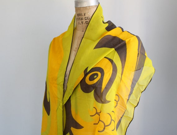 vintage 1970s silk chiffon scarf. SANT ANGELO logo oblong scarf. Gold, mango, lime. Leaping fish. Mint,  collectible.