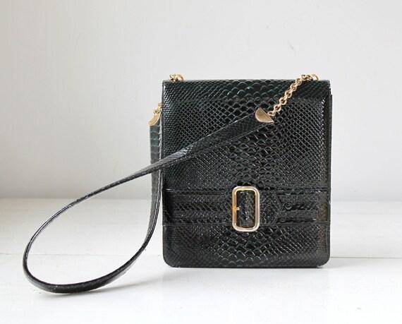 vintage 1960s mod handbag. Dark teal, lizard patent. Belt accent. Beinen Davis / the RUM BABA shoulder bag