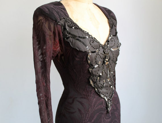 vintage 1980s black lace dress. Sm / Med. Sequins, beads, satin, lace goth backless. Climax Karen Okada / the BLACK RUSSIAN party gown