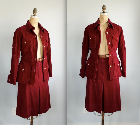vintage 1970s women's suit. Wine corduroy, safari jacket and skirt. Size 8 / retro military / the FRESH BEETS jacket and skirt set.